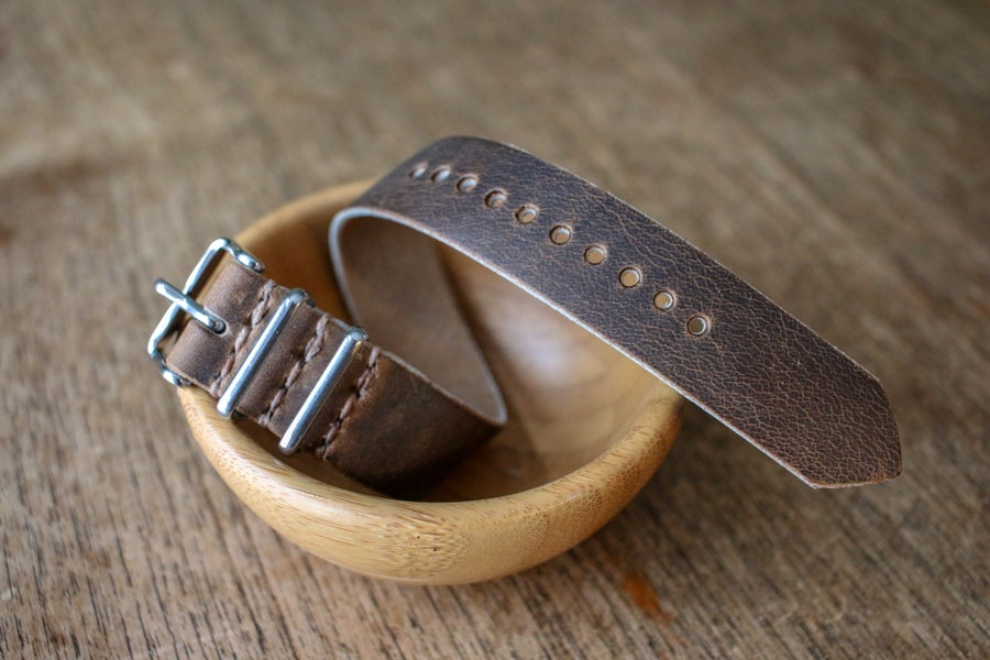 Image of One Piece Watch Strap in Brown Crazyhorse