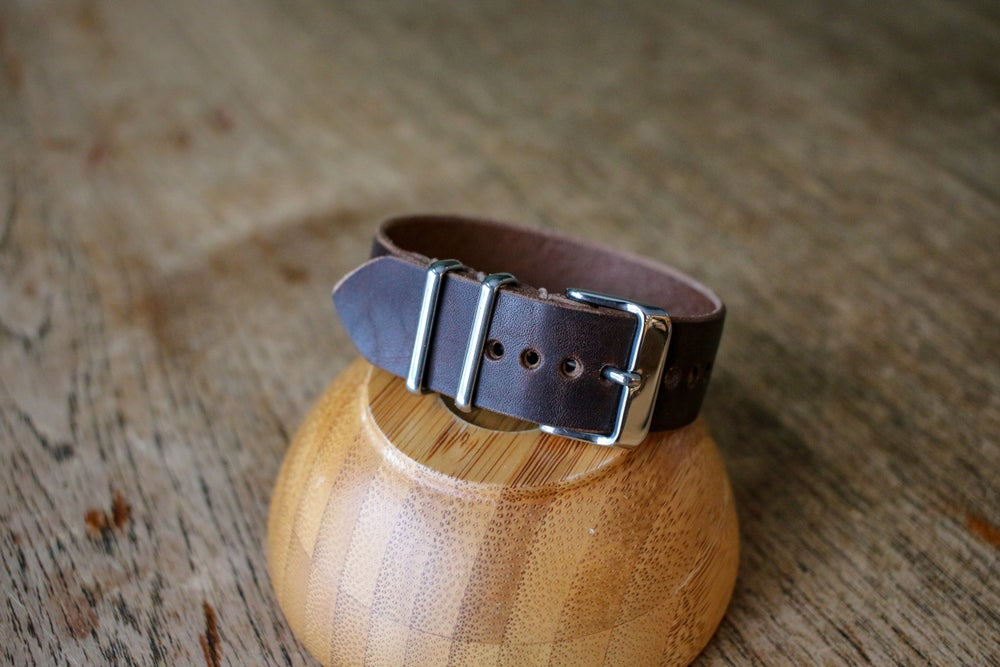 Image of One Piece Watch Strap in Brown Horween Waxed Flesh Dublin