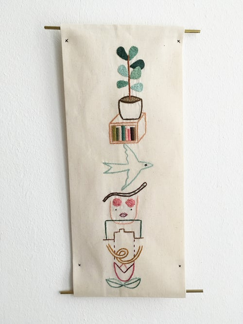 Image of Visual diaries vol.8 - Hand embroidered wall tapestry, embroidery on unbleached cotton, brass frames