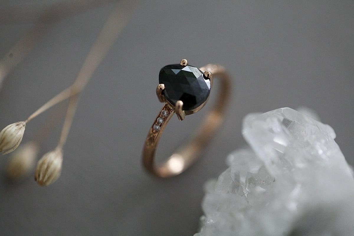 Image of *NEW* Rose Gold Black Rose-cut diamond, with diamond set band (IOW95)