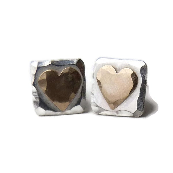 Image of Silver square hammered studs with gold hearts
