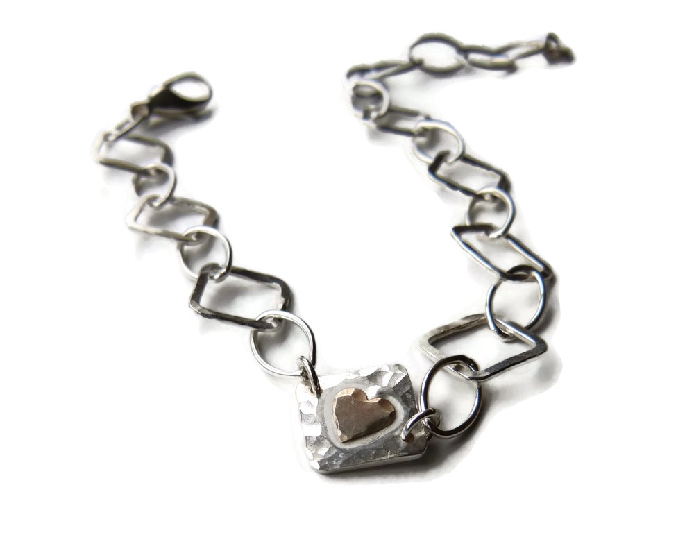 Image of Silver square hammered bracelet with gold heart