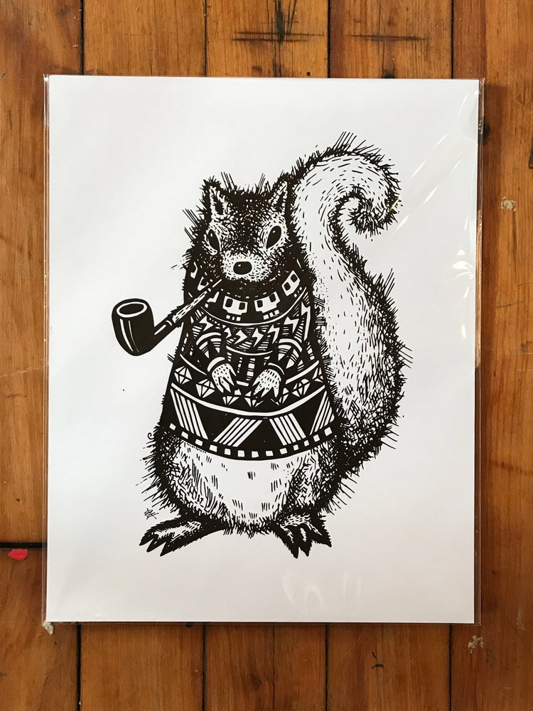 Image of Pretentious Squirrel, Screen Print on Card Stock