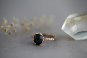 Image of *NEW* Rose Gold Black Rose-cut diamond, with Laurel Leaf band (IOW97)