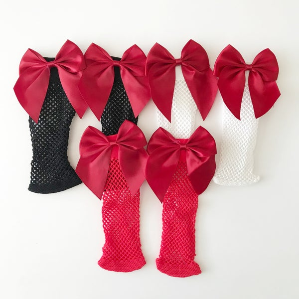 Image of Fishnet Socks with Red Bows