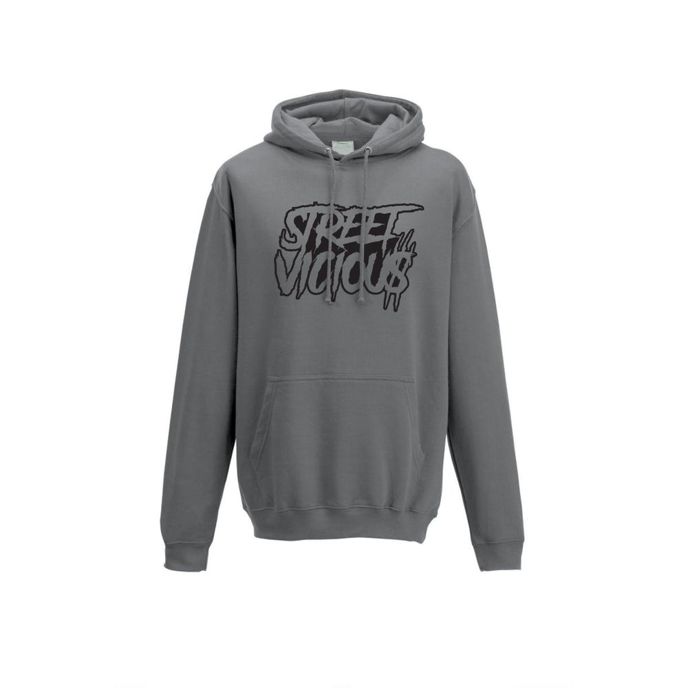 Image of Street Vicious Slasher Stacked College Hoodie - Steel Grey
