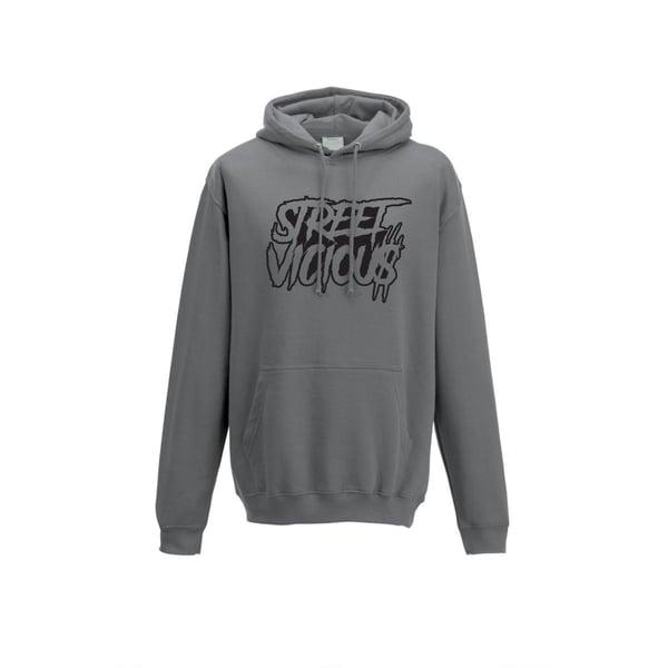 Image of Street Vicious Slasher Stacked College Hoodie - Steel Grey