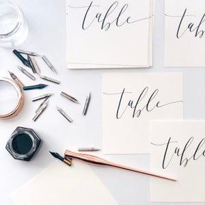 Image of Calligraphy Table Number Cards