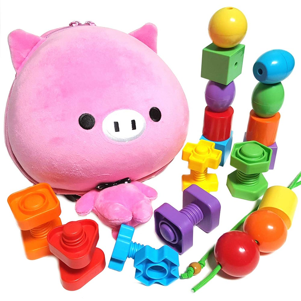 Image of Pink Pig Backpack with Jumbo Stringing Beads & Nuts and Bolts for Kids