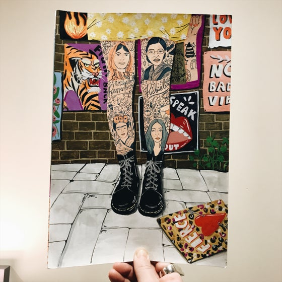 Image of PRE ORDER Rebel girl tattoo A4 print
