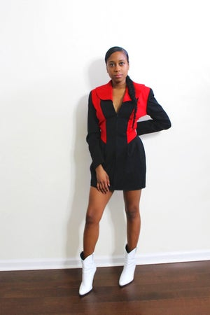 Image of Reconstructed Color-Block Structured Mini Dress