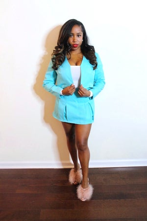 Image of Reconstructed Aqua 2-Piece Baby Doll Set