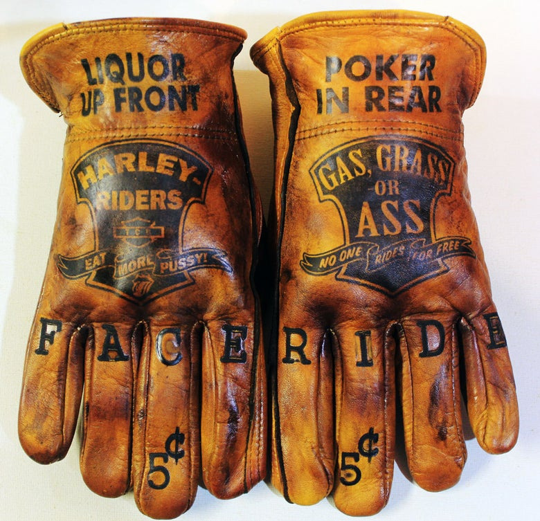 Image of Harley Riders/Gas or Grass Waxed leather gloves
