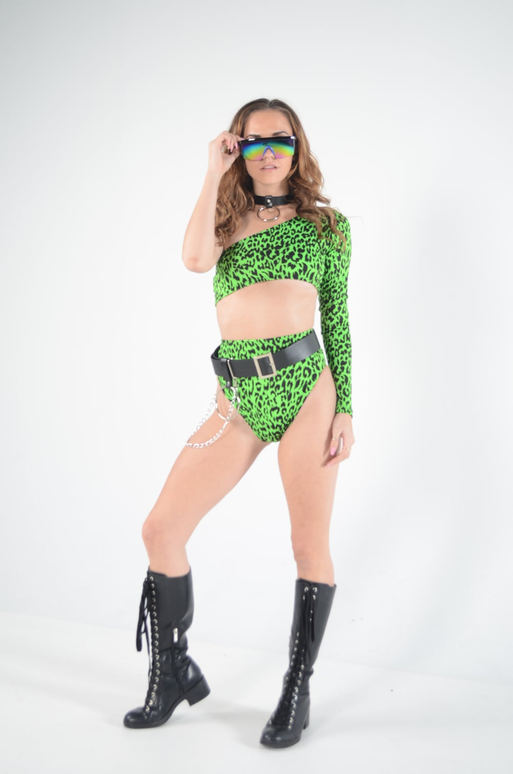 Image of Green Jungle Cat One Armed Crop Top