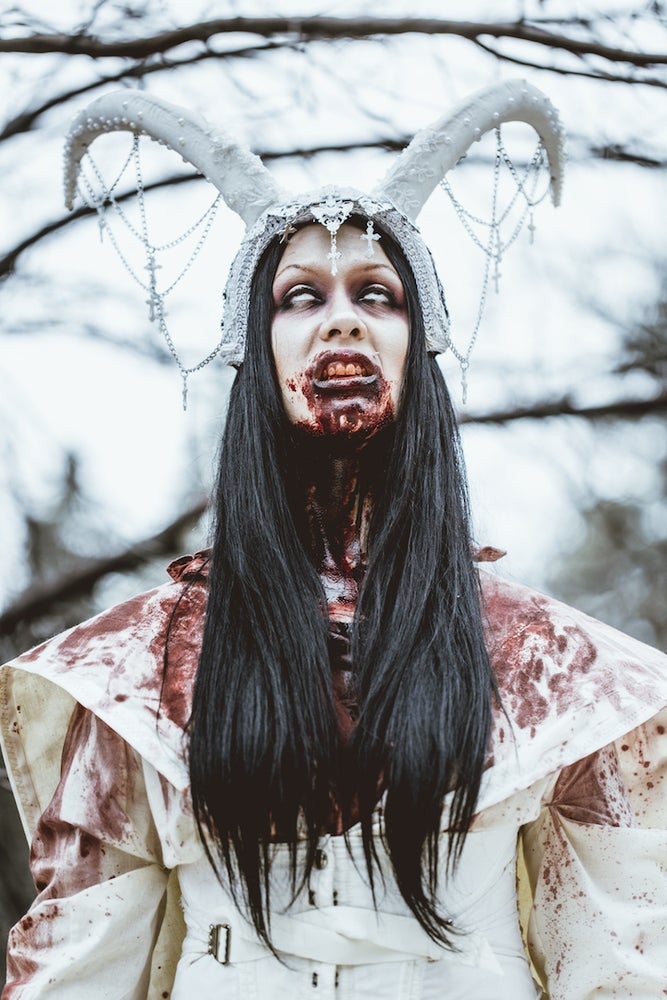Image of WED TO THE BEAST - White horned headdress