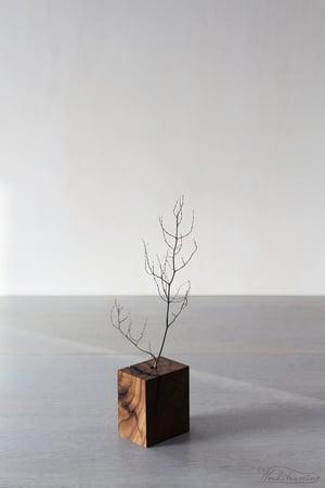 Image of Wabi-sabi wooden vase with large natural crack