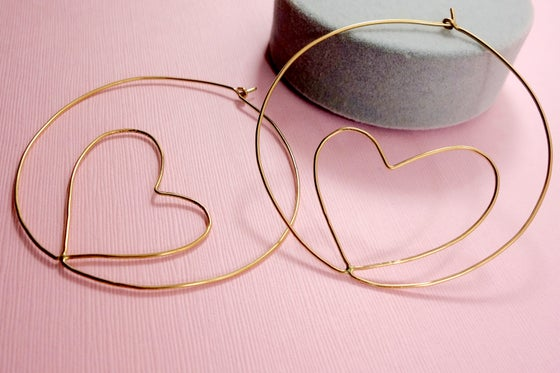 Image of Heart Charm Hoops