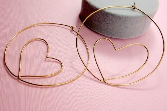 Image of Heart Charm Hoops