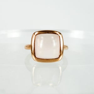 Image of M:3079 Sterling silver gold plate rose quartz dress ring