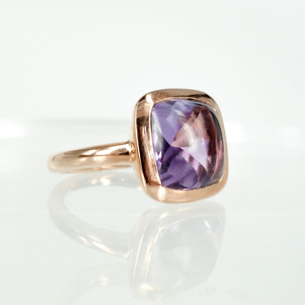 Image of Sterling silver rose gold plate amethyst dress ring