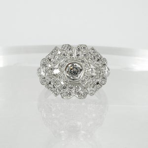 Image of PJ5013 - 18ct white gold antique style diamond engagement ring