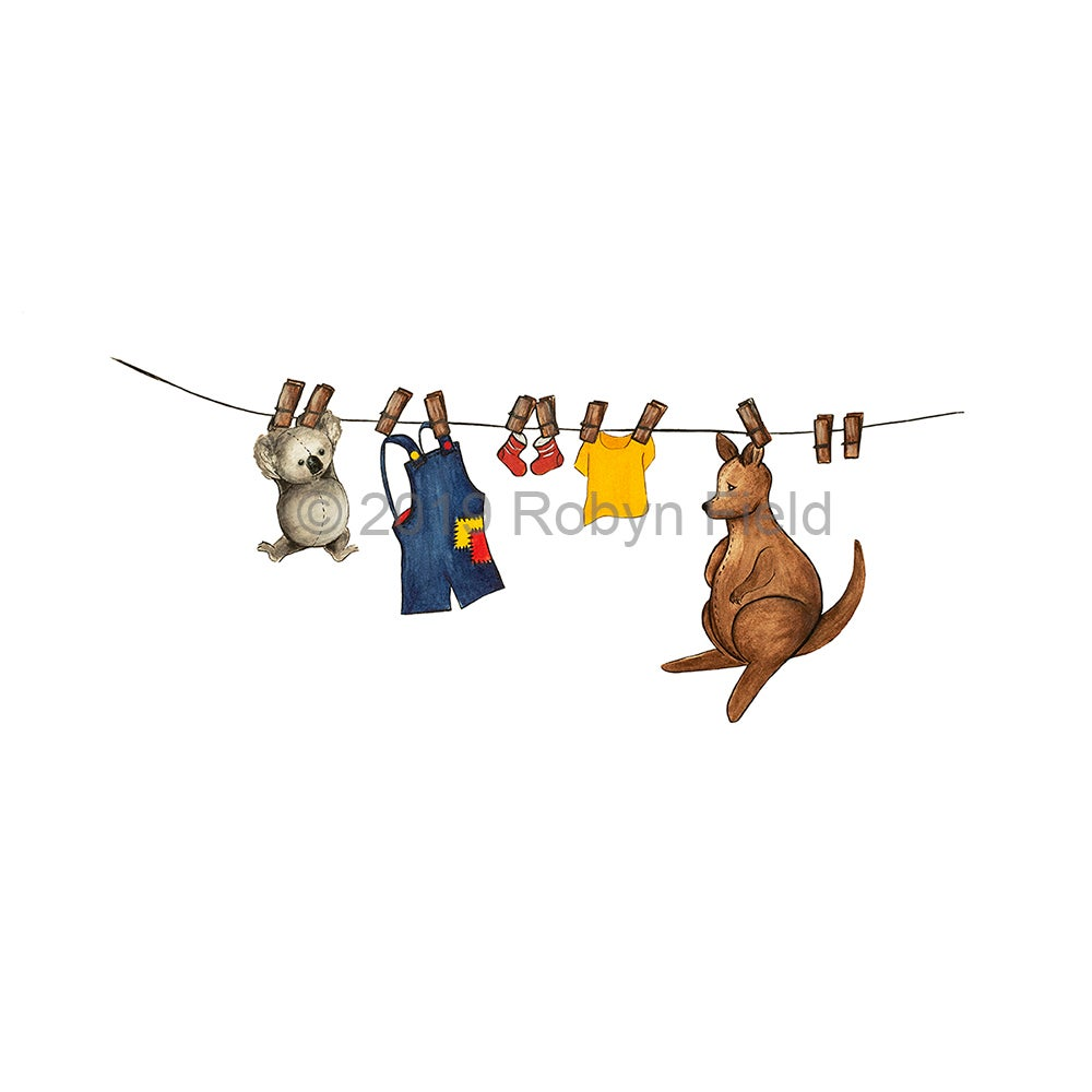 Image of Australian Artwork Print - Toys on a line
