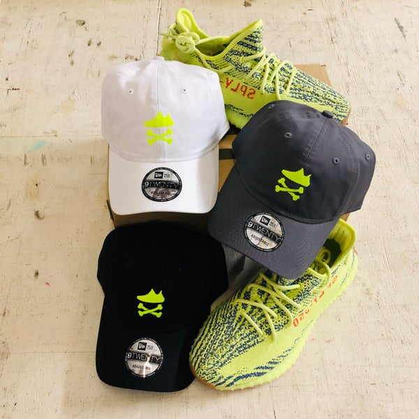 "Image of YEEZY CROSSBONES EMBROIDERY ""NEON YELLOW"" DAD HAT"