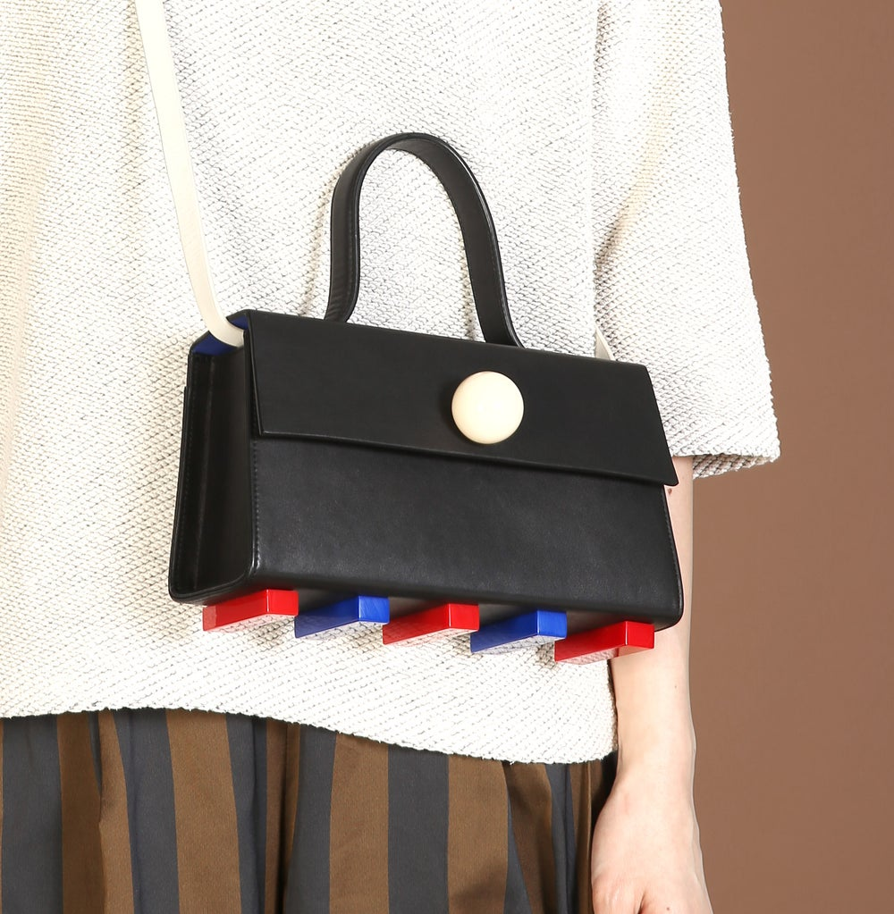 Mini Trapezoid satchel bag • Black with strap