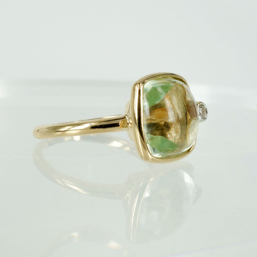 Image of 14ct yellow gold green Amethyst and diamond dress ring