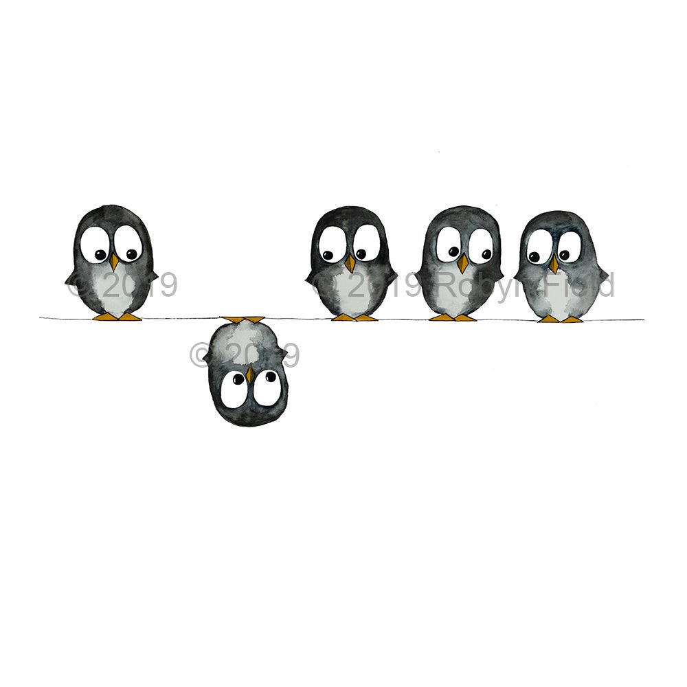 Image of Australian Artwork Print - Penguins on a wire