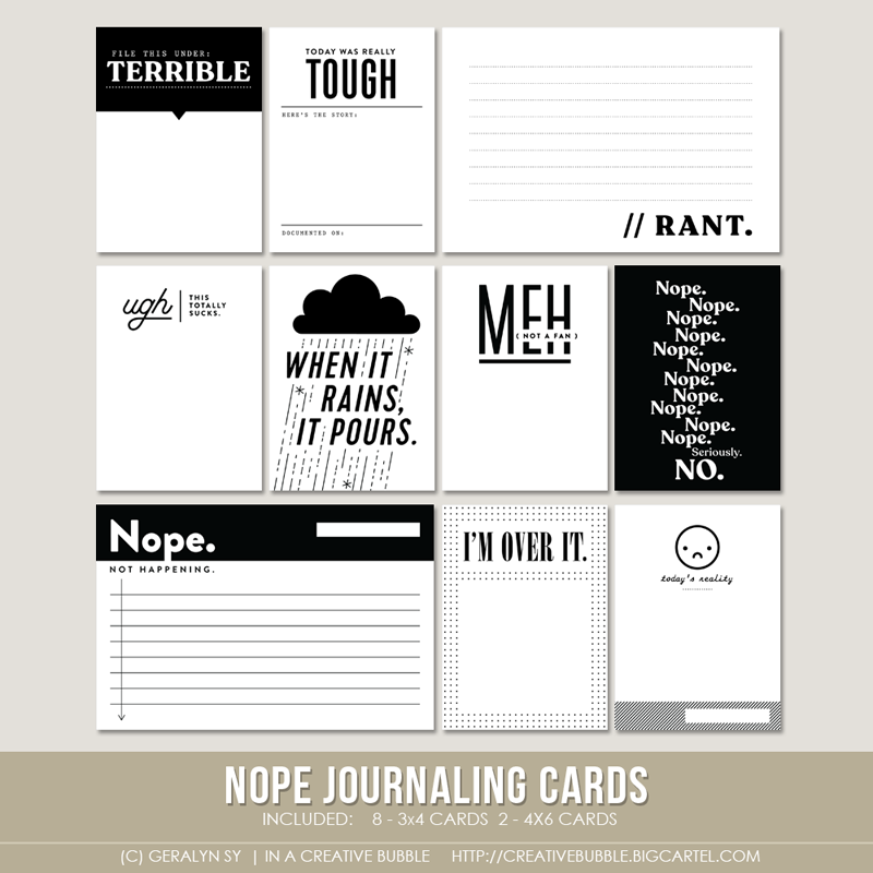 Image of Nope Journaling Cards (Digital)