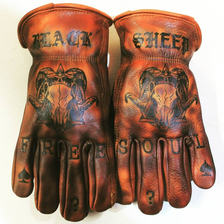 Image of Black Sheep/Free Soul custom leather gloves