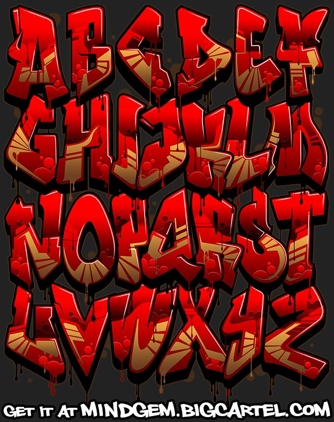 Image of Graffiti Font - Crimson