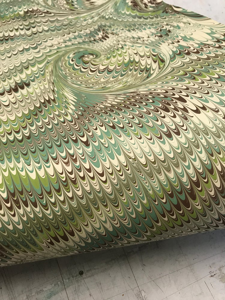 Image of Marbled Paper #24 green and brown non pareil with swirl