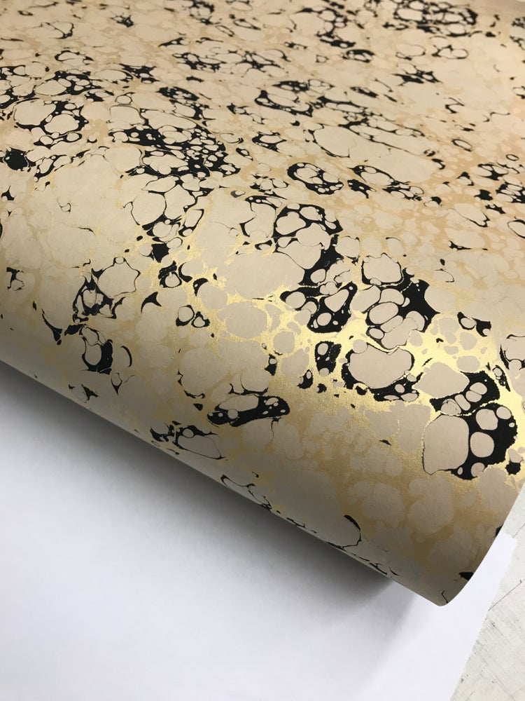 Image of Marbled paper  - Metallic Gold & black vein on Fawn