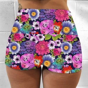Tattoo Floral Fold Over Shorts