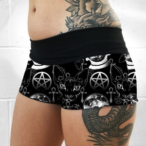 Sphynx Cat Occult Fold Over Shorts