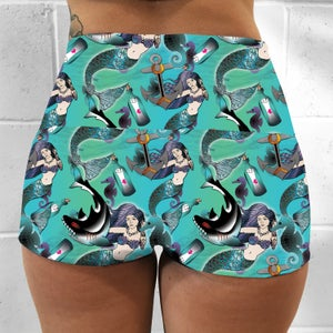 Image of Nautical Mermaids Tattoo Fold Over Shorts