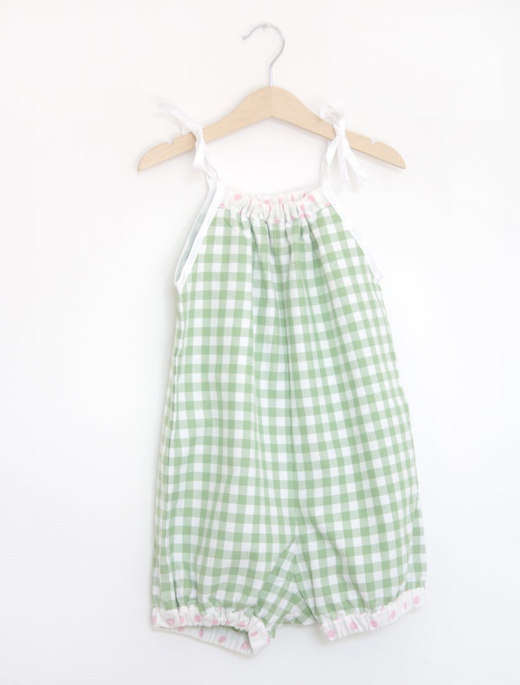 Image of 50s Playsuit - pink or green check