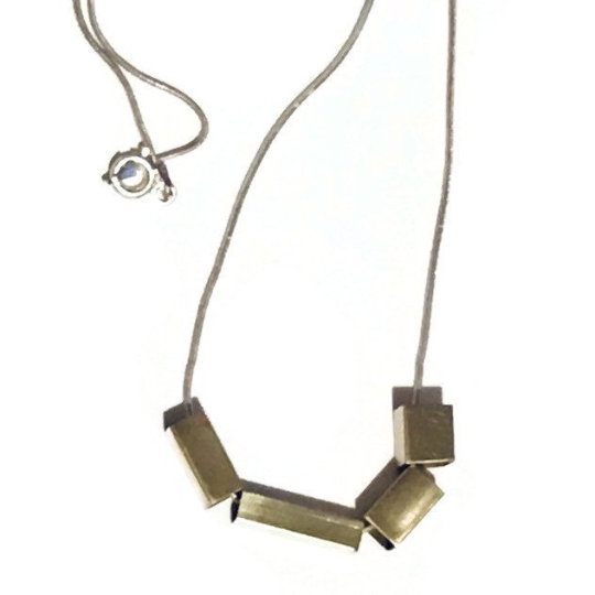 Image of Telescopic Brass Cubes & Sterling Silver Necklace