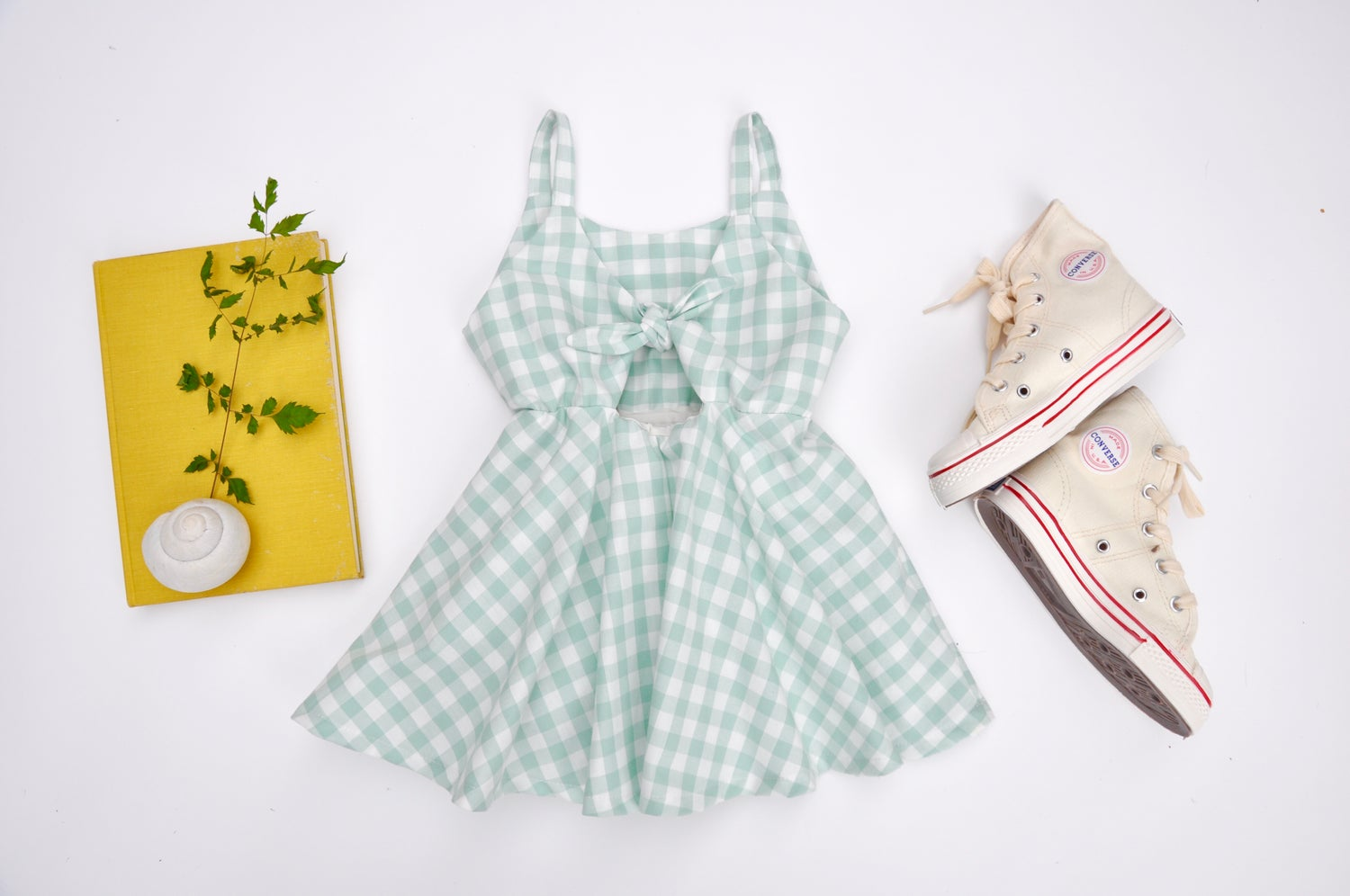 Image of Sunday Dress in Sage Gingham