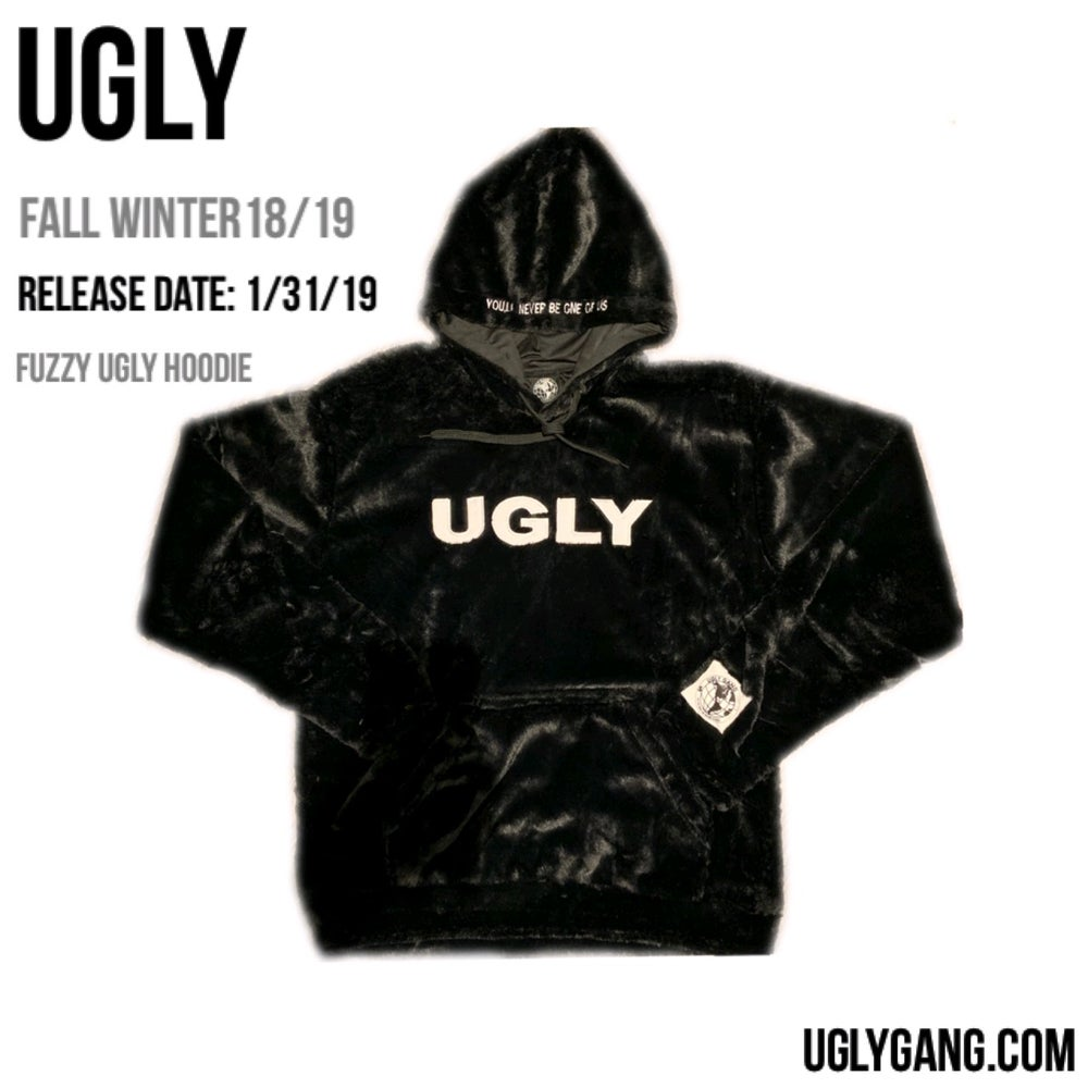 BLACK FUZZY UGLY HOODIE