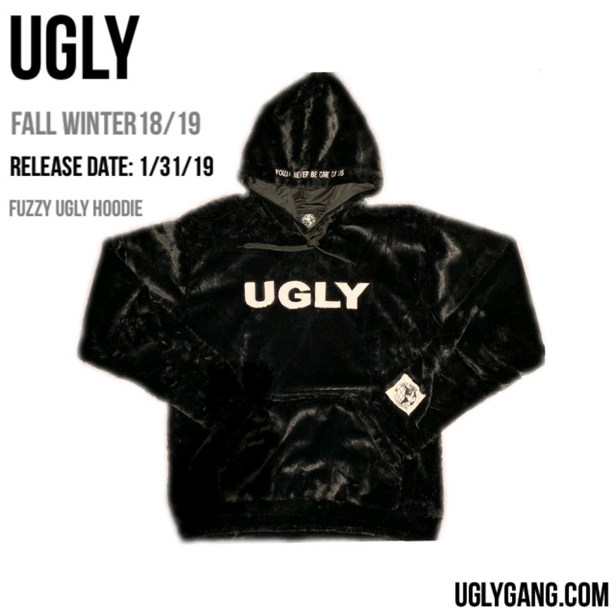 Image of BLACK FUZZY UGLY HOODIE