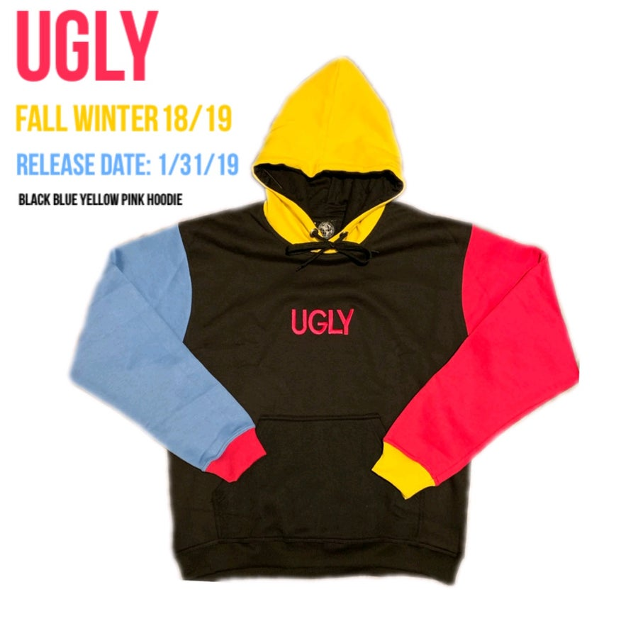 Image of BLACK YELLOW PINK BLUE HOODIE