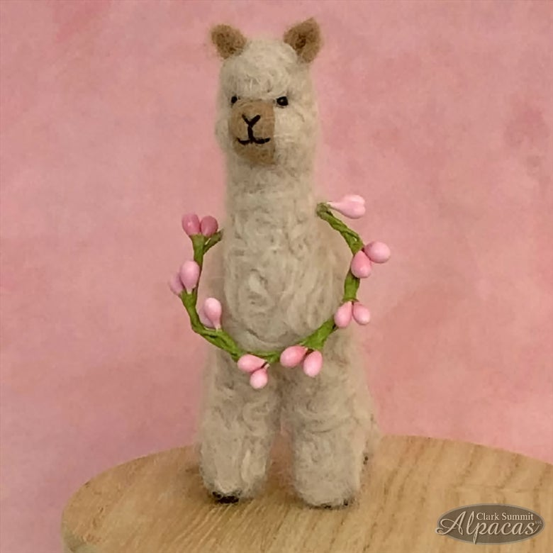 Image of Alpaca Sweetheart Mother's Day Spring Miniature Needle Felted Alpaca Fiber Stuffed Mini Gift for Alp