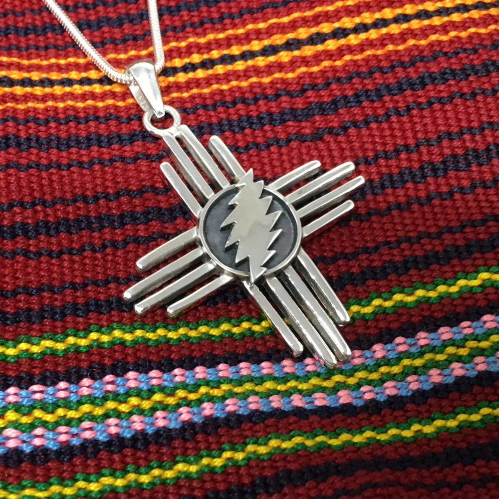 Image of Zia Cross with Bolt Sterling Silver Pendant on Sterling Chain