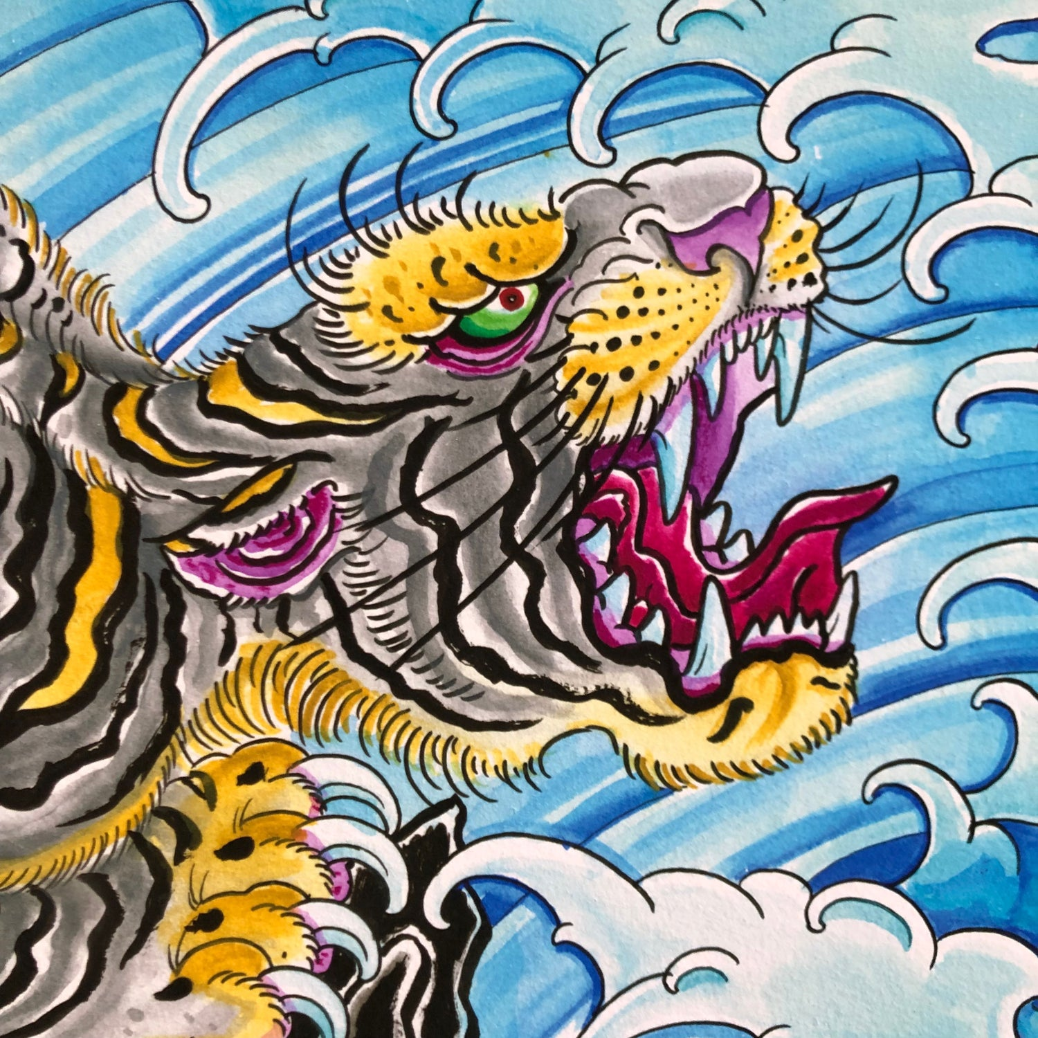 Image of TIGER AT SEA GICLEE