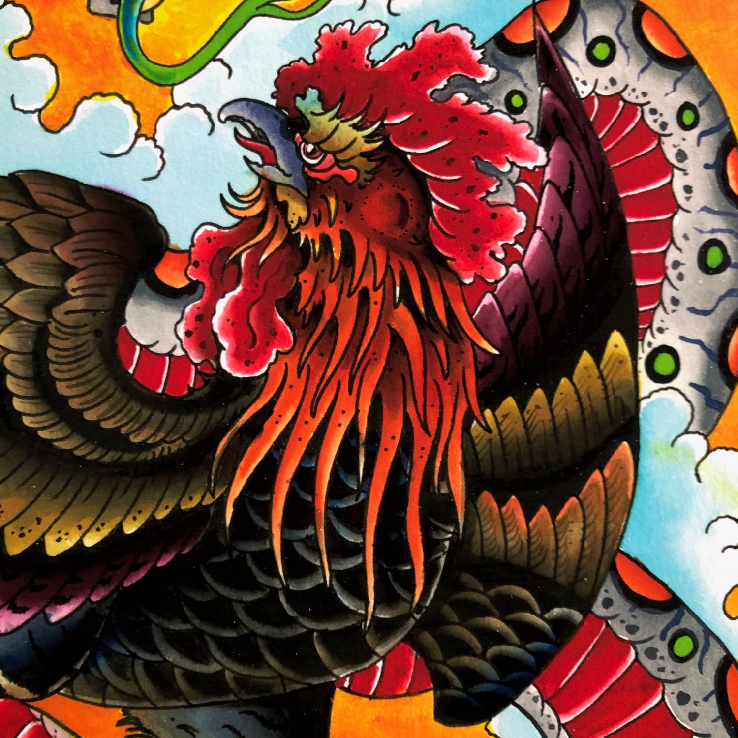 Image of ROOSTER/SNAKE GICLEE