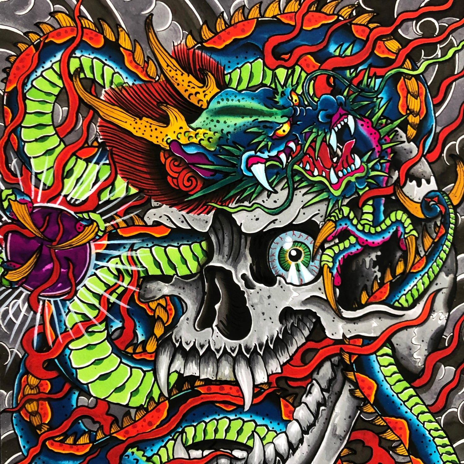 Image of DRAGON/SKULL GICLEE