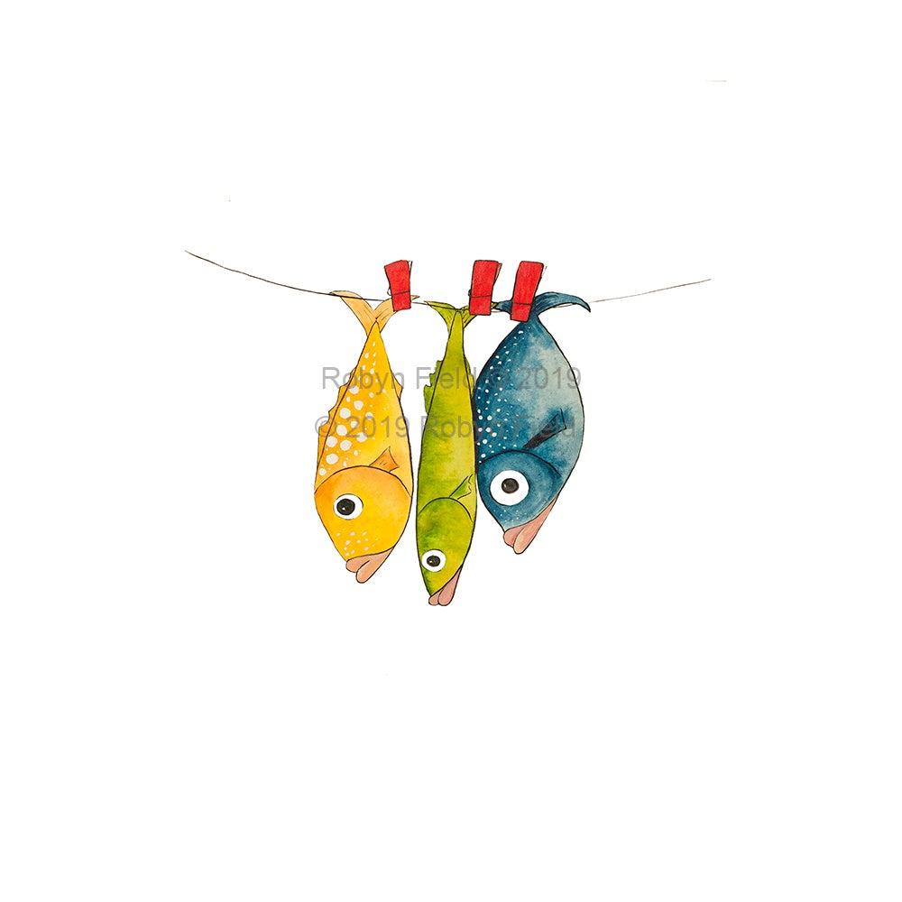 Image of Australian Artwork Print - Fish on a line